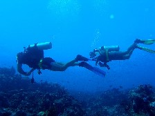 Anders and Eva are hitting bubbles at Dolphin Bay Divers in Fiji. Click to enlarge.